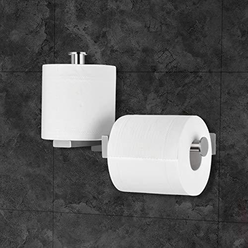Lolypot Toilettenpapierhalter Doppelt, Klopapierhalter ohne bohren, Klorollenhalter Selbstklebend, Gebürstet 304 Edelstahl WC Halter Rollenhalter Bad Papierhalter für Badzimmer und Küche