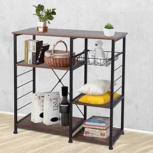 GOTOTOP - Práctico estante de cocina con tres capas para microondas y utensilios de cocina con cinco ganchos pequeños