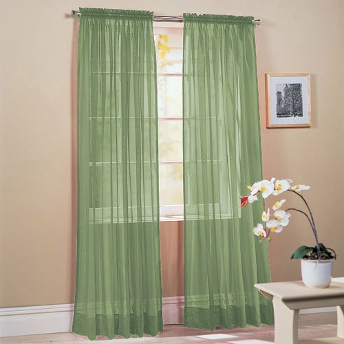 """SET OF 2, 84"""" LONG SAGE GREEN SHEER VOILE CURTAINS / TAILORED CURTAIN PANELS, 60"""" WIDE"""