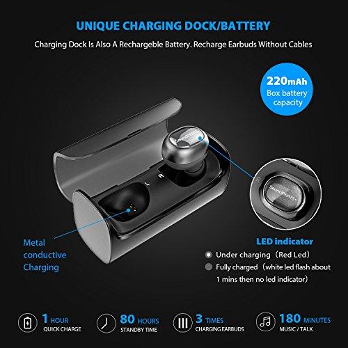 [Avanzato] SoundPEATS Cuffie Q29 Bluetooth 4.2 Senza Fili, Auricolari In-Ear, Resistenti al Sudore, Suono Stereo (Nero)
