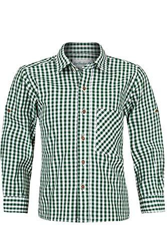 Isar-Trachten Isar-Trachten Jungen Kinder Baumwoll-Trachten Hemd kariert Tanne, Tanne, 110
