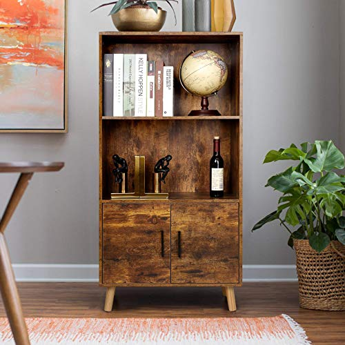 amzdeal Retro Bookcase, Storage Cabinet, Bookcase with Doors, 2 Tier Shelves, Freestanding Pantry Cabinet, Display Furniture in Living Room, Office, Kitchen, Dining Room, Rustic Brown