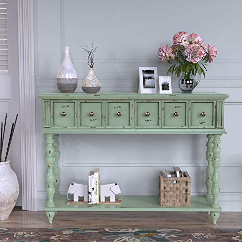 Merax Narrow Console Table Ancent SofaTable with Two Exquisite Drawers and Bottom Shelf for Living Room (Light Mint Green)