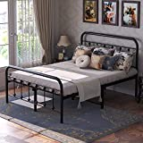 Kealive Vintage Victorian Style Full Size Metal Bed Frame with Headboard and Footboard, 14 Inches Platform Bed Frame, Mattress Foundation, No Box Spring Needed, Easy Assembly, Black