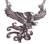 Silver Phoenix Pendant on Chain Necklace fire...