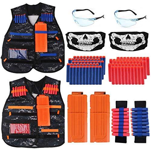2 Sätze Taktische Weste für Kinder, Nerf Tactical Vest Jacke Kit für Nerf Gun N-Streik Elite-Serie mit 100 er Darts, 2 Battle Weste, 2 Brille, 2 schnell nachladen Clips, 2 Maske und 2 Armbände