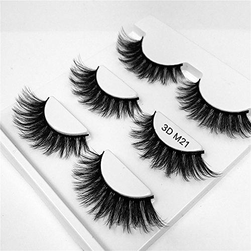 3 paires de Faux Cils, Multipack Natural 3D Cils Faux - Eyelashes Mode Extension Pour Maquillage M21