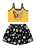 Kids Baby Girl Summer Outfits Set Children Sleeveless Strap Printed Vest Shorts 2Pcs Playsuit Clothes (Yellow, 9-10 Years)