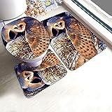 GABRI Juego de alfombras de baño de 3 Piezas de Lechuza común, Juego de Alfombrillas de baño, alfombras de baño y alfombras de Felpa Antideslizantes