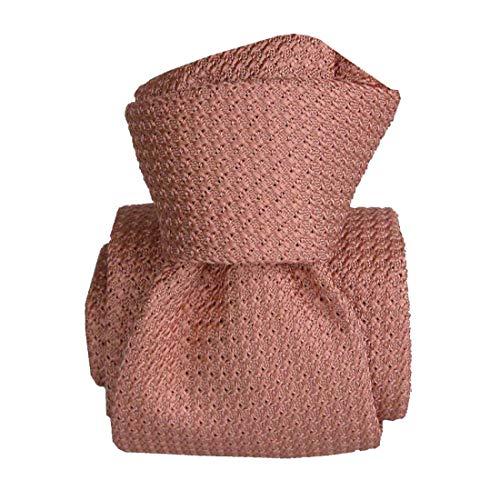 Segni et Disegni. Cravate grenadine de soie. Premium, Soie. Rose, Uni. Fabriqué en Italie.