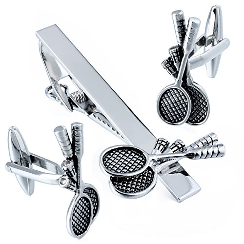 HAWSON Novelty Cuff Links and Tie Clip Set for Men - Gifts for Wedding Level,Football,Baseball,Shark etc Design Available