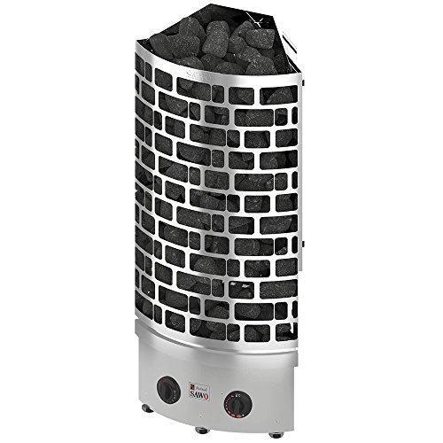 SAWO ARIES CORNER ARI3 Elektrische Saunaofen 6,0 kW mit integrierte Steuerung (NB-Modell); Multispannung: entweder Einphasig oder 3-Phasig; Edelstahl Stand Saunaofen; ARI3-60NB-CNR