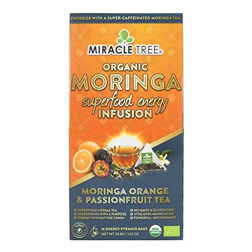 Miracle Tree's Moringa Energy Tea - Orange & Passionfruit   Super Caffeinated Blend   Coffee Alternative, Perfect for Focus   Organic Certified & Non-GMO   16 Pyramid Sachets