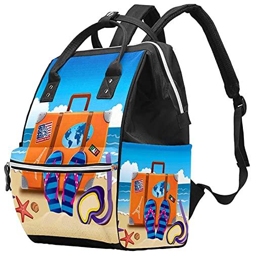 WJJSXKA Zaini Borsa per pannolini Laptop Notebook Zaino da viaggio Escursionismo Daypack per donna Uomo - illustrazione di valigia da viaggio con adesivi colorati