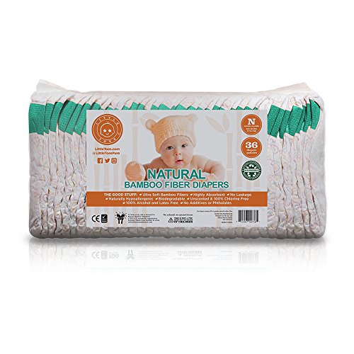 Little Toes Disposable Biodegradable Bamboo Newborn Diapers (36 Count)