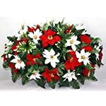 XL-Christmas-Red-and-White-Poinsetta-Artificial-Silk-Flower-Cemetery-Tombstone-Grave-Saddle