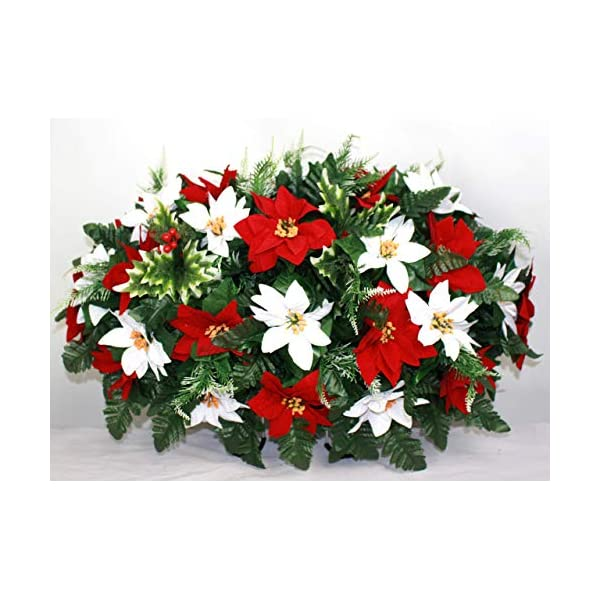 XL Christmas Red and White Poinsetta Artificial Silk Flower Cemetery Tombstone Grave Saddle