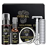Luxury Shaving Kit for Men, Include Safety Razor & 15 Blades, Pre-Shave Oil, Shaving Cream, After-Shave Balm, Versatile Beard Scissors, Professional Beard Care Kit - Shaving Gifts Set for Men