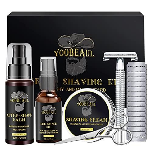 Luxury Shaving Kit for Men, Include Safety Razor & 15 Blades, Pre-Shave Oil, Shaving Cream, After-Shave Balm, Versatile Beard Scissors, Professional Beard Care Kit - Shaving Gifts Set for Men