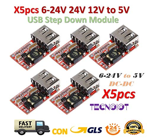 TECNOIOT 5pcs 6-24V 24V 12V to 5V USB Step Down Module