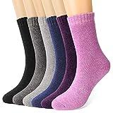 gifort calze di lana, 6 paia donna calzini invernali, qualità premium morbide calde donne calzini, per attività all'aperto e al coperto eu 35-42, adulti unisex calze