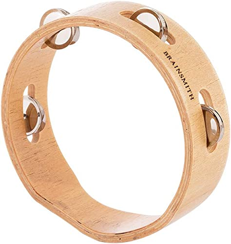 Brainsmith Swoora Round Wooden Tambourine 6 inches Child Safe Handheld Percussion Musical Instrument Toy for Kids 1 6 Years 4 Pairs Jingles