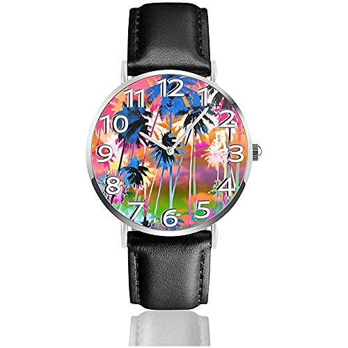 Aquarel Coco Schilderen Unisex Horloge Sport Horloge PU Lederen Band Quartz RVS Polshorloges