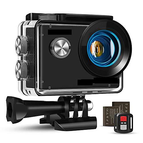 HMY 4K Acción 16MP cámara Impermeable WiFi a Distancia del micrófono y Externa Tiempo de estabilización transcurre y la Pila Recargable 2 a la epidermis y Snowboards
