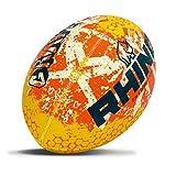 Rhino Balón de Rugby, Unisex, Color Naranja, Amarillo, 5