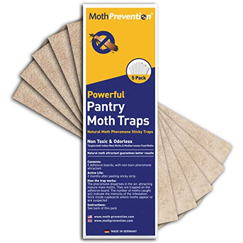 MothPrevention Powerful Pantry Moth Traps with Pheromones Prime | 5-Pack | Pantry Moth Trap for House - Moth Killer Indoor | Unique Design for Maximum Pheromone Dispersal - Odor-Free & Natural