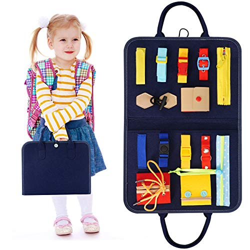 HAN-MM Busy Board Montessori Toys for Toddlers Foldable Sensory Toys Autism Toys Bag Design, Toddler Activity Board - Educational Learning Toys