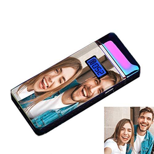Stɑy Real Personalisiertes Herren Feuerzeug Angepasstes Foto USB Wiederaufladbarer Fingerabdruck-Induktionslichtbogen Feuerzeug,Farbe-Doppelseitig