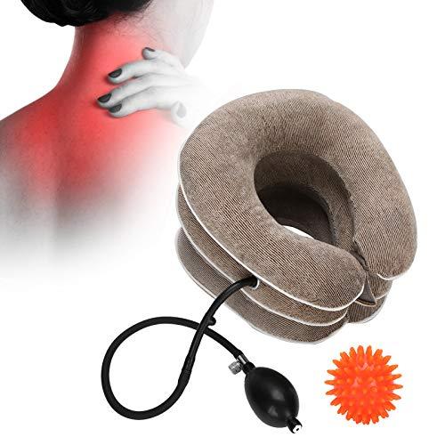 Almohada para el cuello Dispositivo inflable de tracción para el cuello Alivio oportuno del dolor de cuello Almohada para el cuello en forma de U con bola de masaje(marrón)