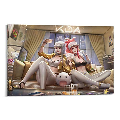 SSKJTC Lienzo decorativo para pared de estilo moderno para sala de estar, dormitorio, liga de personajes de juego, póster de leyendas, roles, pintura divertida, sala de estar, 20 x 30 cm