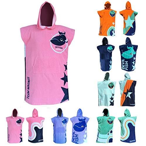 TEAM MAGNUS Bademantel/Strandtuch - großes Handtuch für Bad u. Outdoors - Vier Coole Designs/Farben im Poncho-Stil (Einheitsgröße für Kinder u. Teens 120-170 cm) (Pink)