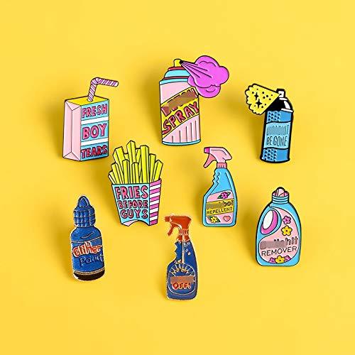 SHAOWU Repellent Button Pommes Emaille Pins Broschen Waschmittel Boxed Drink Pink Pin Big Flasche Spray für Frauen Abzeichen Jacken Schmuck Geschenk Style1