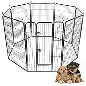 Giantex 24/32/40/48inch Dog Playpen with Door, 16/8 Panel Pet Playpen for Large and Small Dogs, Portable Foldable Freestanding Dog Exercise Pens, Metal Dog Playpen Indoor & Outdoor (8 Panels, 48)