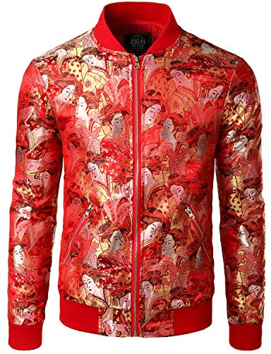 JOGAL Men's Luxury Paisley Embroidered Satin Bomber Jacket Coat Large Red