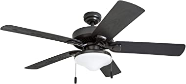 "Honeywell Belmar Outdoor LED Ceiling Fan with LED Light, Waterproof, Damp-Rated, 52"" Dark Bronze"