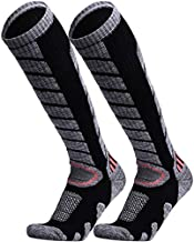 WEIERYA Ski Socks 2 Pairs Pack for Skiing, Snowboarding, Cold Weather, Winter Performance Socks Black Large