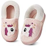 Torotto Junge Mädchen Winter Hausschuhe Kinder Plüsch-Hausschuhe Warm Karikatur Pantoffeln rutschfest(22/23EU Einhorn-Rosa)