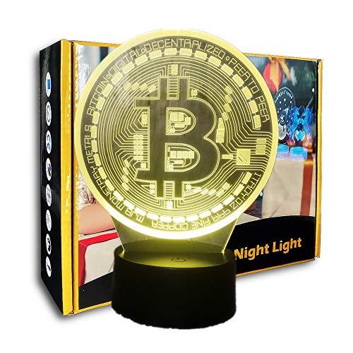 KangYD 3D-Nachtlichtspiel Bitcoin, LED-Illusionslampe, Tischlampe, Acryl, Acryl, Dekorlichter, Glücksgeschenk, A - Black Base Berühren (7 Farbe)