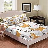 Erosebridal Kid Corgi Dog Fitted Sheet Cute Puppy Bedding Set Cartoon Pet Dog Happy Farm Animal Love Pattern Bed Set Full, 3 Pieces Bed Cover with 2 Pillow Shams,White(No Flat Sheet)