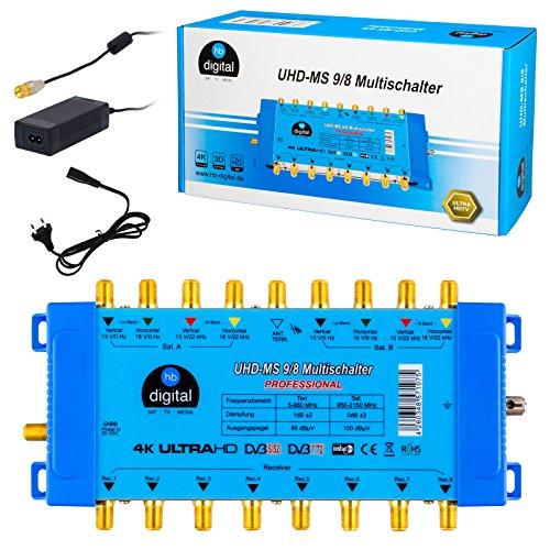 Multischalter pmse 9/8 HB-DIGITAL 2X SAT bis 8 x Teilnehmer / Receiver für Full HDTV 3D 4K UHD