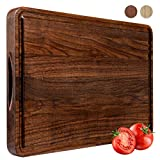 Large Walnut Wood Cutting Board for Kitchen 18x12 Cheese Charcuterie Board (Free Gift Box) Extra Thick Reversible Butcher Block Chopping Board With Non-slip Mats Handles and Juice Groove by AZRHOM