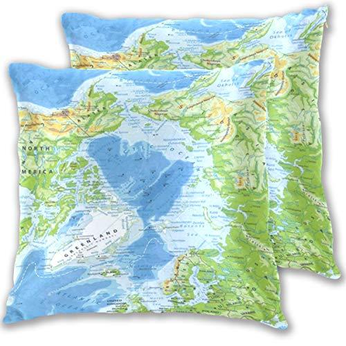 HARXISE Funda de Almohada de Microfibra,patrón 3D Multicolor Opcional,Dos Paquetes, sin Almohada,Islandia Mapa Físico del Océano Ártico Altamente detallado Alaska América Asia Atlántico Norte Bering