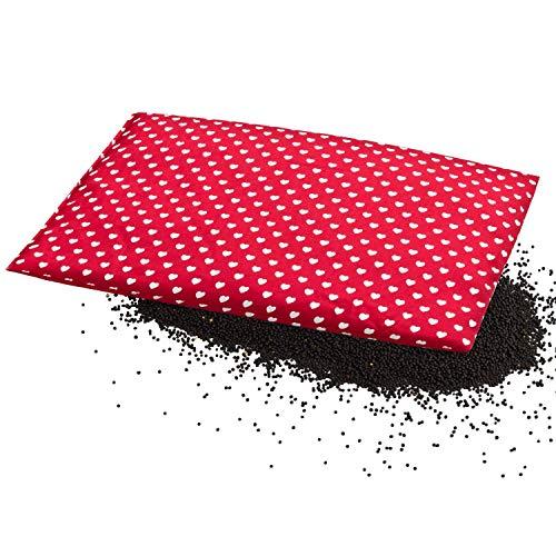 Aminata BALANCE – Wärmekissen Herz-Kissen-Motiv rot, weiß, 20x30 cm, für Nacken, Rücken, Schulter für Mikrowelle Körnerkissen Rapssamen-Kissen, gegen Fieber, Schmerzen, Herz-Motiv