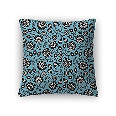 Gear New Throw Pillow Accent Decor, Polish Folk Art Blue Floral Pattern Wzory Lowickie Wycinanki, 20  Cover Only, 5766940GN