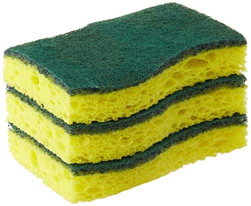 3M Scrub Spugna, acetato di cellulosa, giallo, verde, 3 pezzi (confezione da 1)