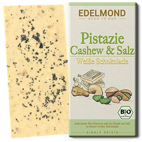 Edelmond Bio. Weiße Nuss Schokolade mit gehackter Pistazie und Salz. Ohne künstliche Aromen und ohne Soja Lecithin. Handarbeit (1 Tafel)